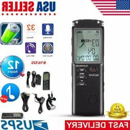 Rechargeable LCD Digital Audio Sound Voice Recorder 32GB Dic