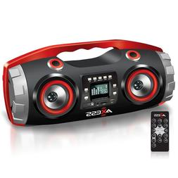 AXESS BLUETOOTH PORTABLE FM CD MP3 USB/SD AUX-IN PLAYER BOOM