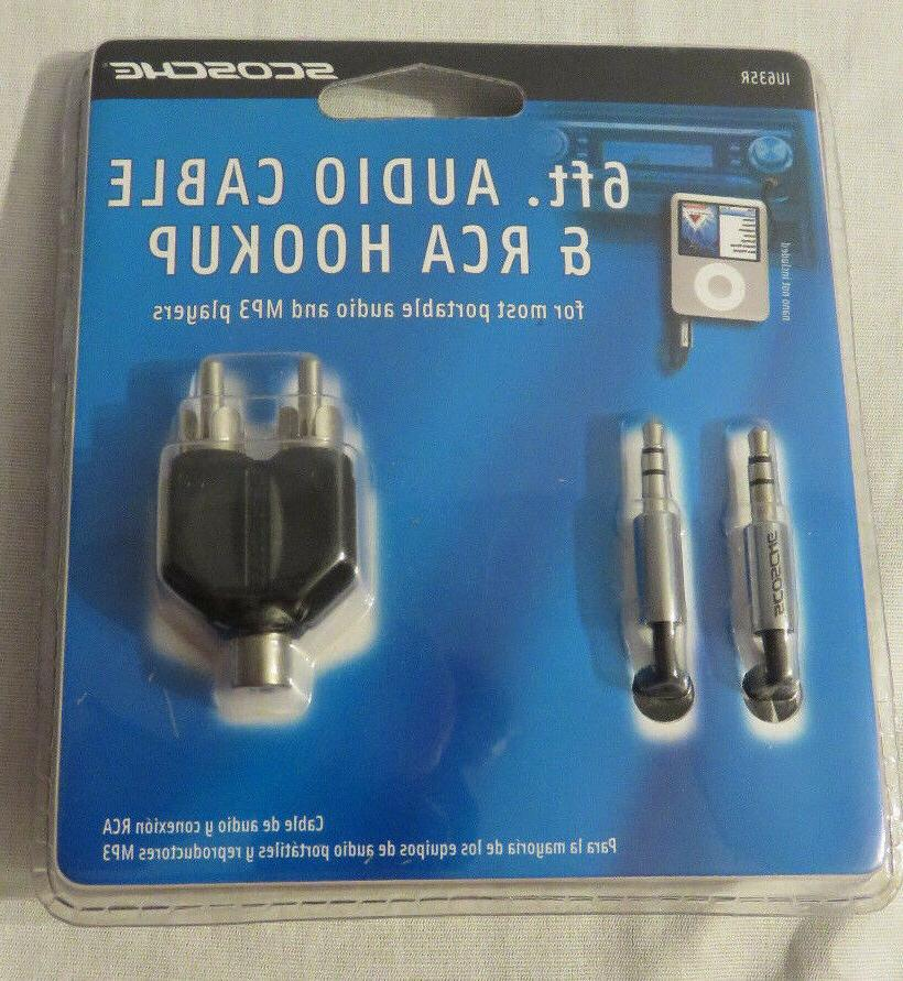 Scosche 6 Foot Audio Cable & RCA Hookup for Potable Audio &