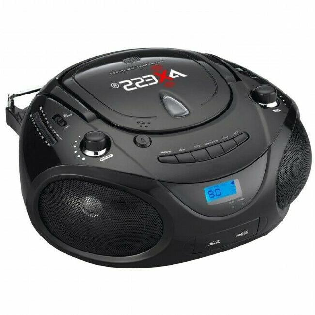 Axess Black Portable Boombox MP3/CD Player with Text Display