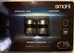 iHome Rechargeable Mini Speakers iHM76 for Smartphones, Tabl