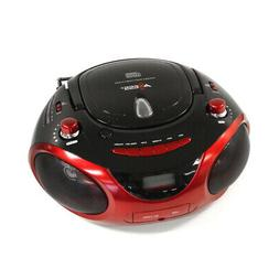 Axess Red Portable Boombox MP3/CD Player with Text Display,w